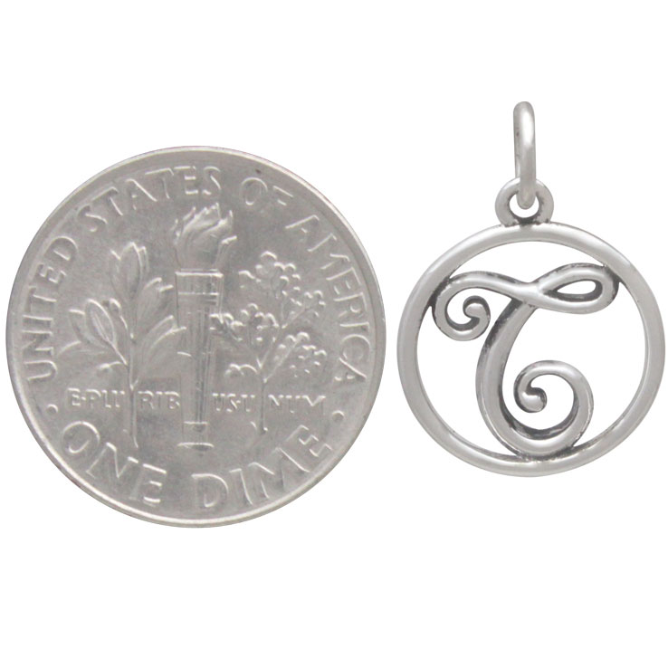 Sterling Silver Cursive Initial Charm Letter T 18x12mm