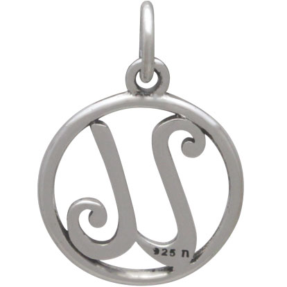 Sterling Silver Cursive Initial Charm Letter U 18x12mm