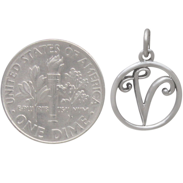 Sterling Silver Cursive Initial Charm Letter V 18x12mm