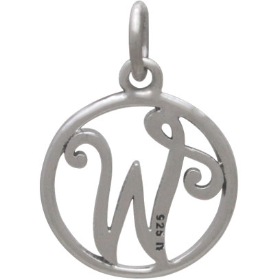 Sterling Silver Cursive Initial Charm Letter W 18x12mm