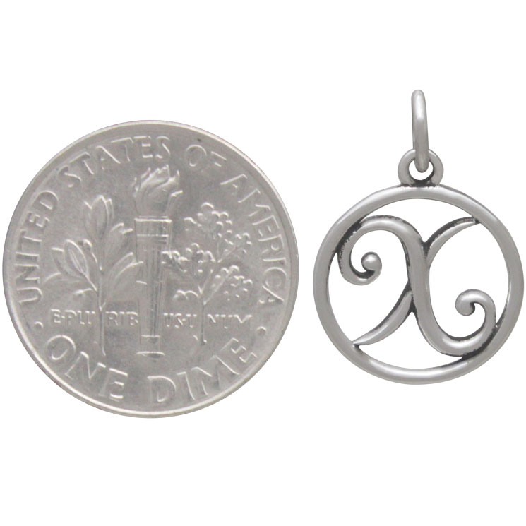 Sterling Silver Cursive Initial Charm Letter X 18x12mm
