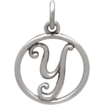 Sterling Silver Cursive Initial Charm Letter Y 18x12mm