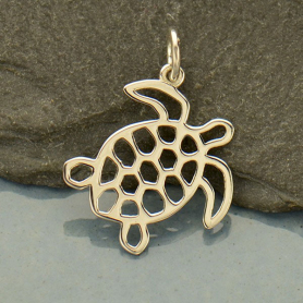 Sterling Silver Sea Turtle Charm - Openwork