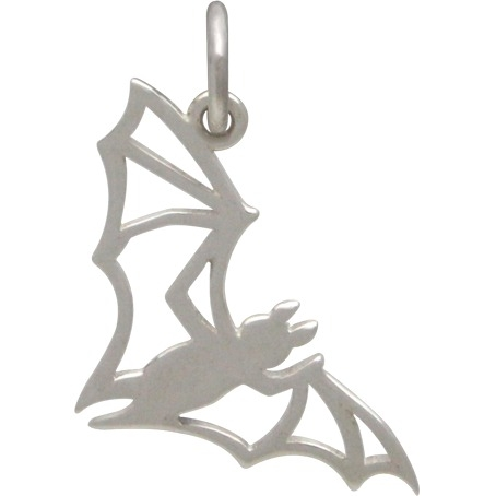 Sterling Silver Bat Charm - Openwork Halloween Charm 18x10mm