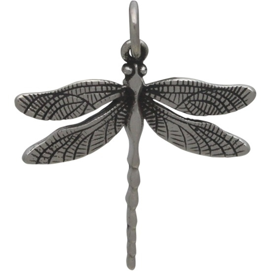 Sterling Silver Large Detailed Dragonfly Charm 24x20mm