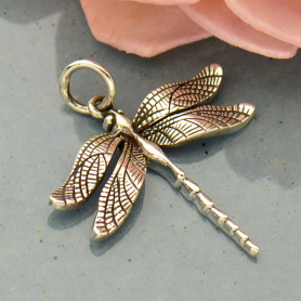 Sterling Silver Large Detailed Dragonfly Charm -25mm
