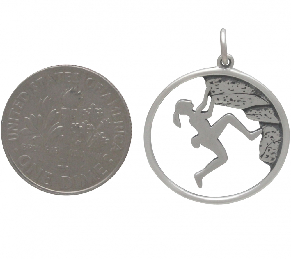 Sterling Silver Rock Climbing Girl Pendant 25x20mm