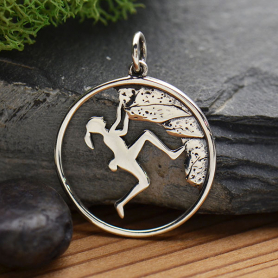 Sterling Silver Rock Climbing Girl Pendant