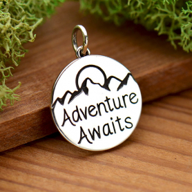 Sterling Silver Message Pendant - Adventure Awaits 20x15mm