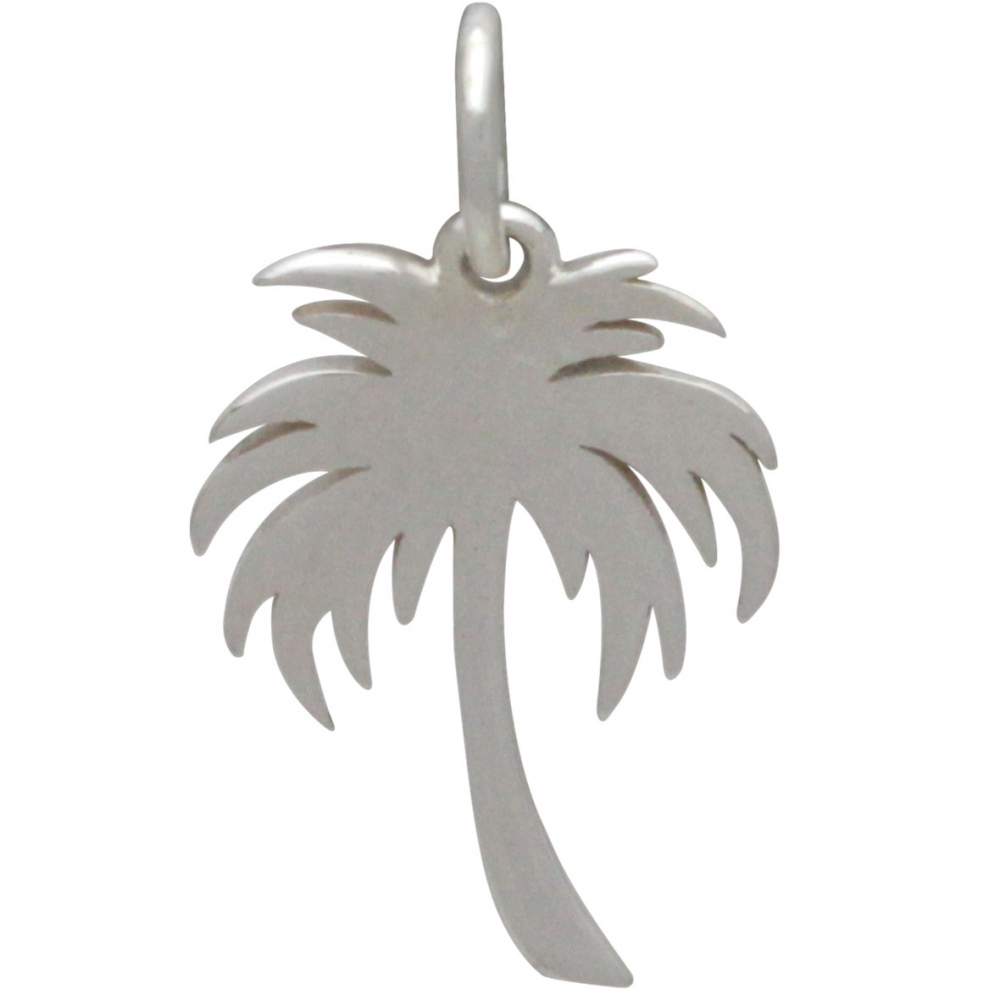 Sterling Silver Large Palm Tree Charm - Cutout 20x11mm