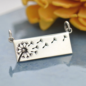 Sterling Silver Rectangle Dandelion Pendant Festoon 14x26mm