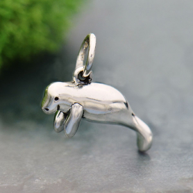 Sterling Silver Manatee Charm 16x12mm