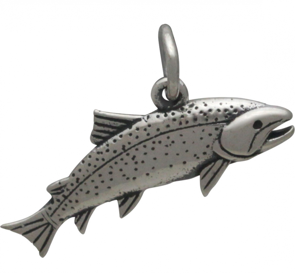 Sterling Silver Trout Charm - Fish Charm