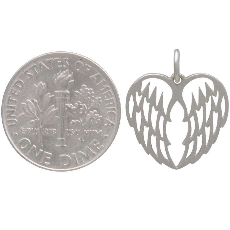 Sterling Silver Double Angel Wing Charm - Openwork