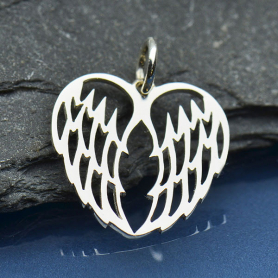 Sterling Silver Double Angel Wing Charm - Openwork 19x15mm