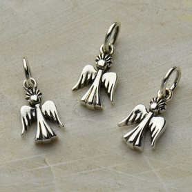 Sterling Silver Tiny Angel Charm 14x6mm
