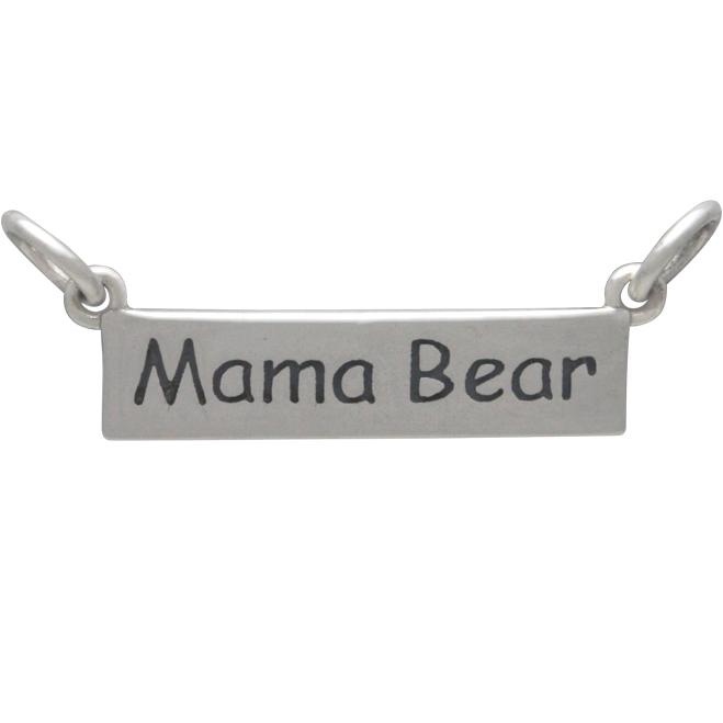 Sterling Silver Message Festoon - Mama Bear 10x23mm