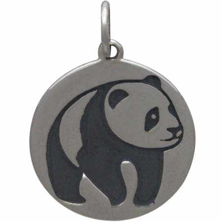 Sterling Silver Panda Charm etched on disk 19x14mm