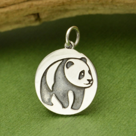 Sterling Silver Panda Charm etched on disk