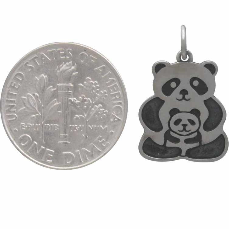Sterling Silver Panda Charm - Mama & Baby 19x12mm