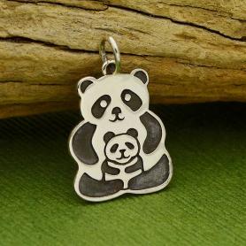 Sterling Silver Panda Charm - Mama & Baby