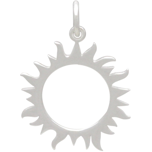 Sterling Silver Eclipse Charm - Sun Charm 22x15mm