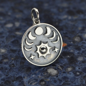 Sterling Silver Sun and Phases of the Moon Charm