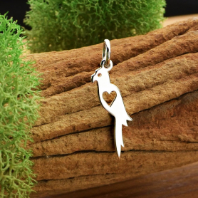 Sterling Silver Parrot Charm - Pet Charm