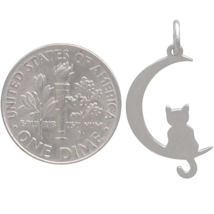 Sterling Silver Moon Charm with Kitty 25x11mm