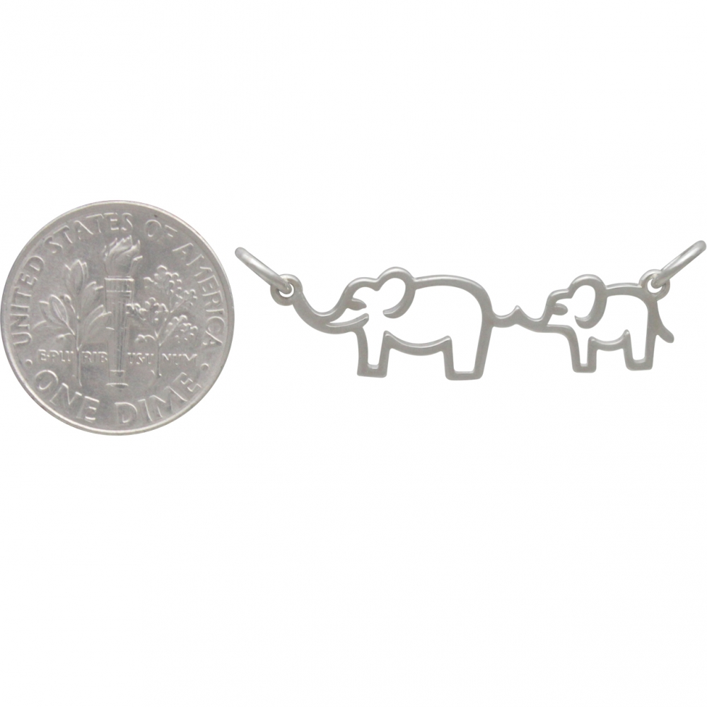 Sterling Silver Mama and Baby Elephant Festoon 12x30mm