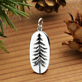 Sterling Silver Pine Tree Charm Etched on an Oval 26x10mm