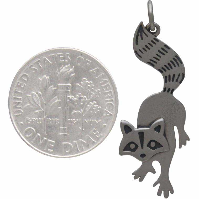 Sterling Silver Raccoon Charm 32x12mm