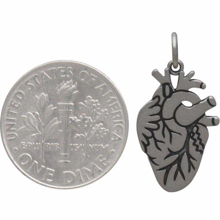 Sterling Silver Anatomical Heart Charm - Etched Heart Charm