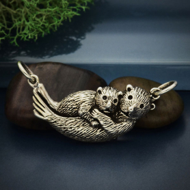 Sterling Silver Mama and Baby Sea Otter Pendant Festoon