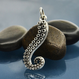 Sterling Silver Octopus Tentacle Charm
