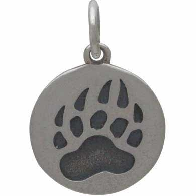 Sterling Silver Bear Claw Charm Etched on a Disk