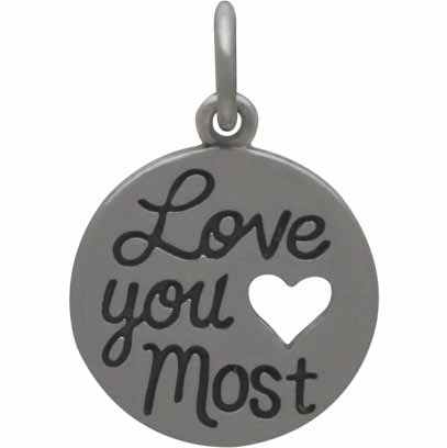 Sterling Silver Message Charm - Love You Most 17x12mm