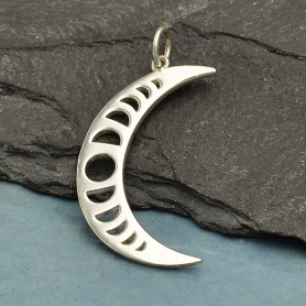 Sterling Silver Crescent Moon Charm with Moon Phases 31x15mm