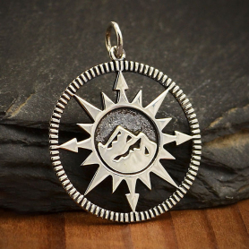 Sterling Silver Compass Pendant with Mountain Center 27x21mm