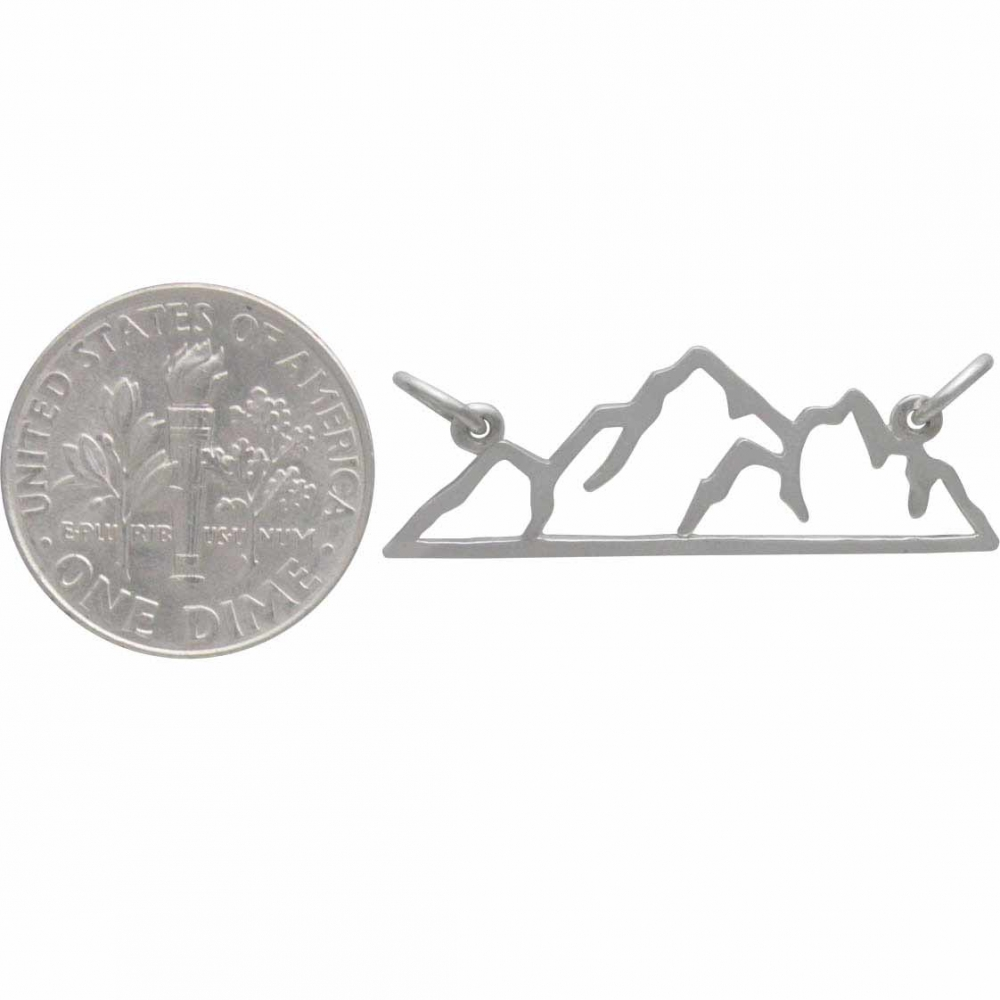 Sterling Silver Mountain Pendant Festoon 10x29mm