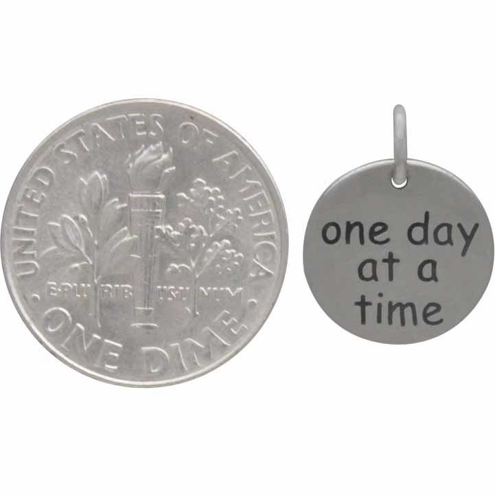 Sterling Silver Message Charm - One Day At A Time 15x12mm