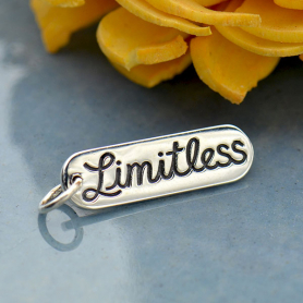 Sterling Silver Word Charm - Limitless 23x6mm