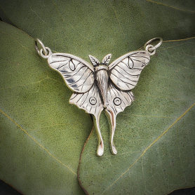 Sterling Silver Luna Moth Pendant Festoon 26x30mm