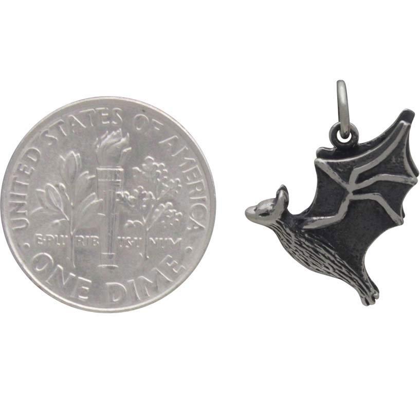 Sterling Silver Flying Bat Charm 16x13mm