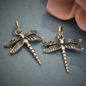 Sterling Silver Small Detailed Dragonfly Charm -19mm