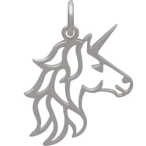 Sterling Silver Unicorn Charm -Openwork Unicorn Head 21x15mm
