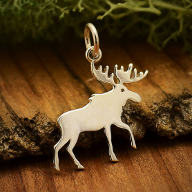 Sterling Silver Moose Charm 21x19mm