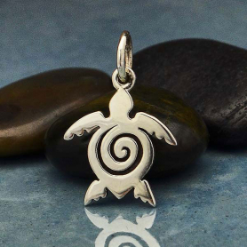 Sterling Silver Sea Turtle Charm with Spiral 16x11mm