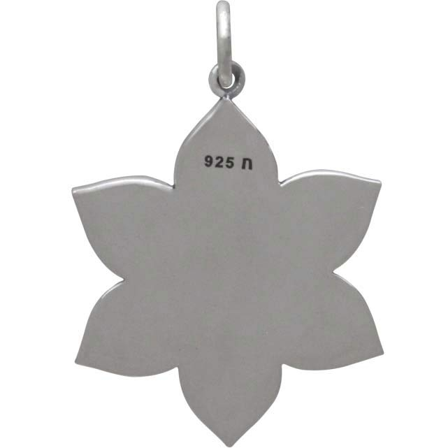 Sterling Silver Spiritual Lotus Pendant 28x19mm