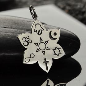 Sterling Silver Spiritual Lotus Pendant - Religious Pendant